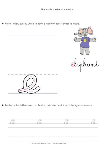 Écriture cursive Grande Section à imprimer - écrire la lettre e