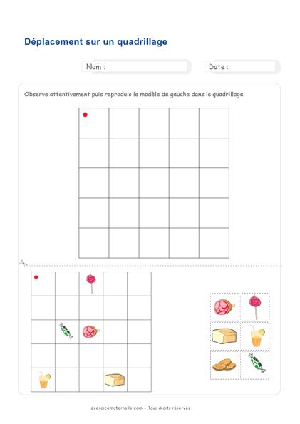 Fiche Maths Moyenne Section à imprimer - déplacement sur un quadrillage