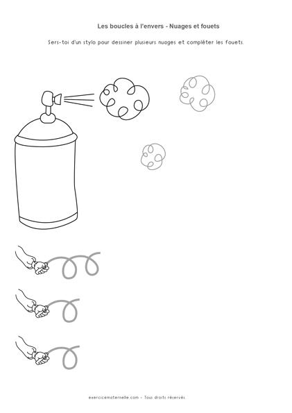nuages d'insecticide - Fiche Graphisme boucles GS Maternelle à imprimer