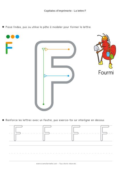 Écriture Maternelle à imprimer - la lettre f