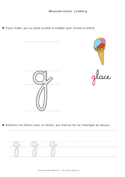 apprendre les lettres cursives - écrire la lettre g