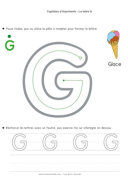 Écrire les lettres en capitales MS - la lettre g